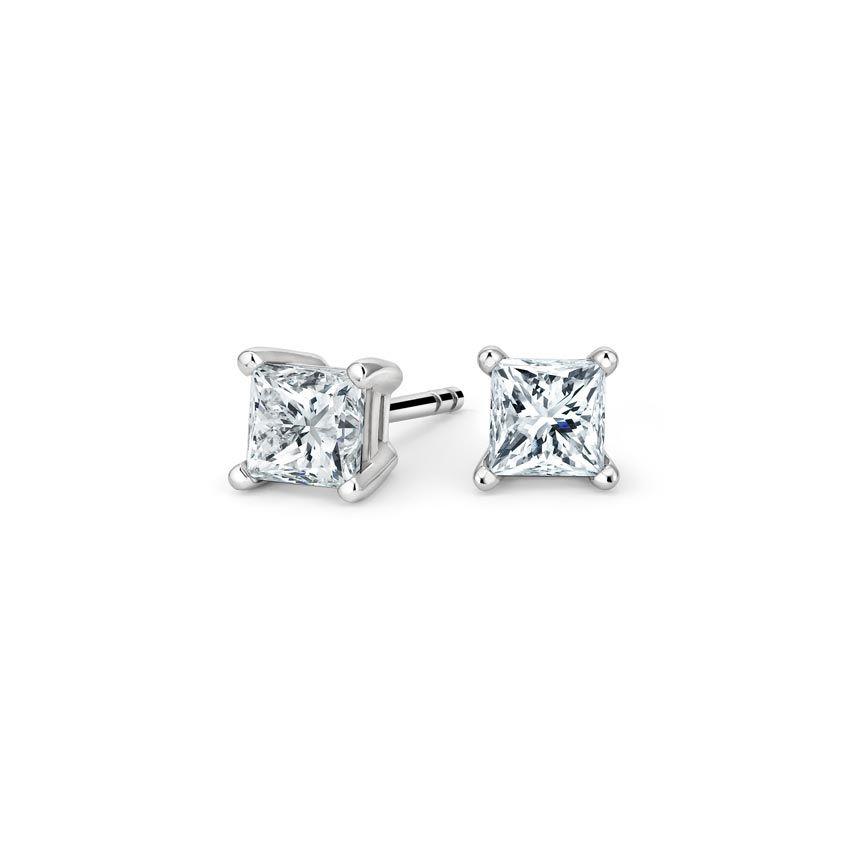 18k White Gold Princess Diamond Stud Earrings 1 Ct Tw