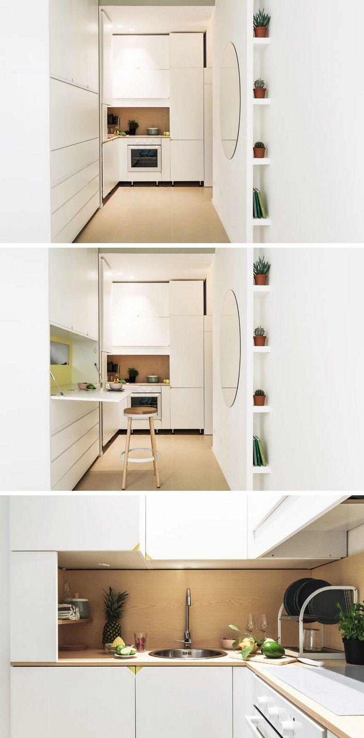 mini wohnung küche grifflose schränke weiß ausklappbarer tisch ...