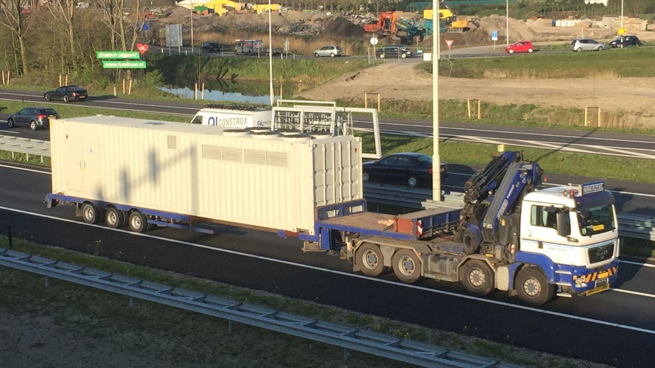 2500 PK, 24 meter, 68.000 kg, roling from www.koppertpower.nl to www.wur.nl