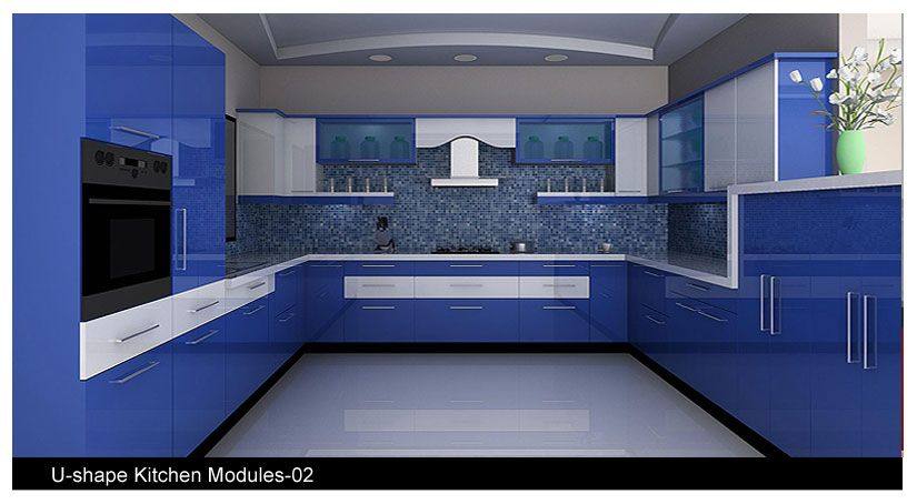Small U Shaped Glossy Acrylic Laminate Kitchen Cabinets