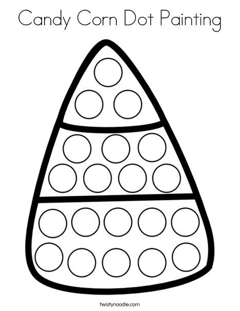 Simple Painting Coloring Pages 36 Candy Corn Dot Painting