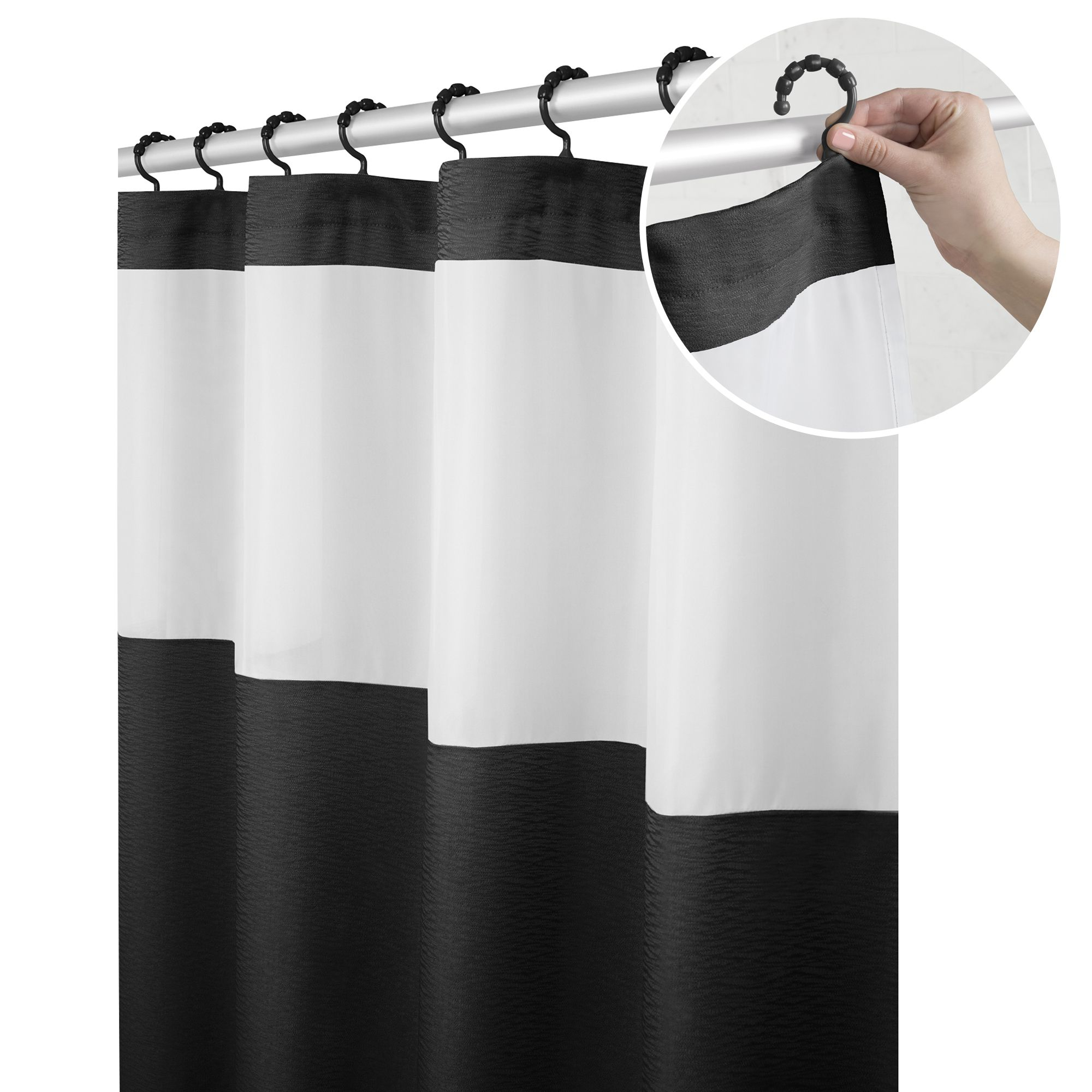 Home In 2020 Fabric Shower Curtains Black And White Fabric