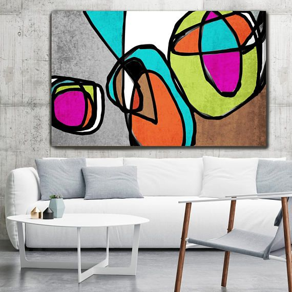 vibrant colorful abstract 68 2889 mid century modern colorful canvas art print mid century. Black Bedroom Furniture Sets. Home Design Ideas