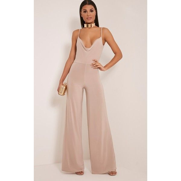 Lidiah Stone Cowl Front Scoop Back Jumpsuit-6 ($36) ❤ liked on Polyvore featuring jumpsuits, white, white wide leg jumpsuit, jump suit, party jumpsuits, white jump suit and white jumpsuit