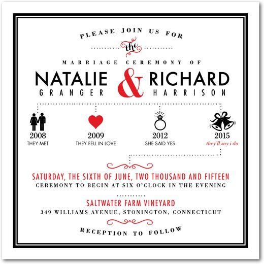 Beautiful Tasteful Timeline   Signature White Textured Wedding Invitations   Smudge  Ink   Tomato   Red :