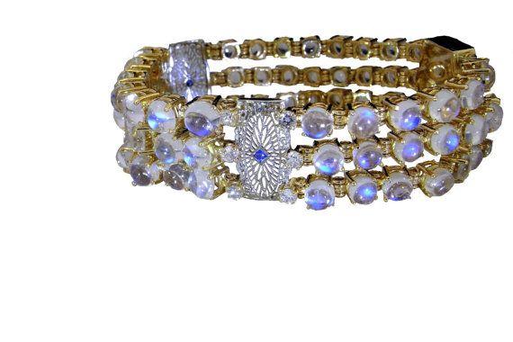 Art Deco Diamond Sapphire Bracelet Rainbow Moonstone 1920s by SalonUber