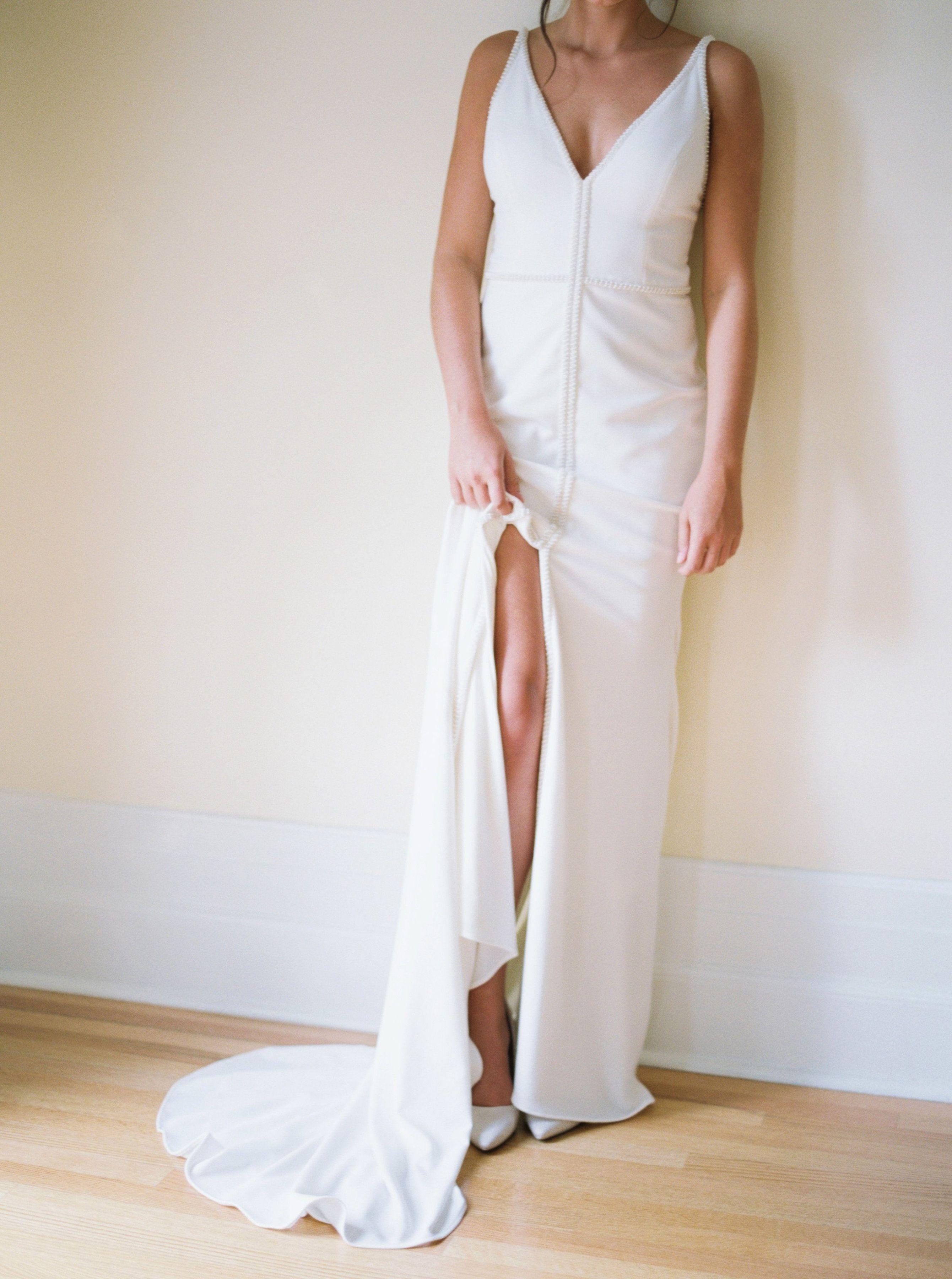 Alyssa Kristin wedding gown | V neck wedding dress with slit | Visit ...