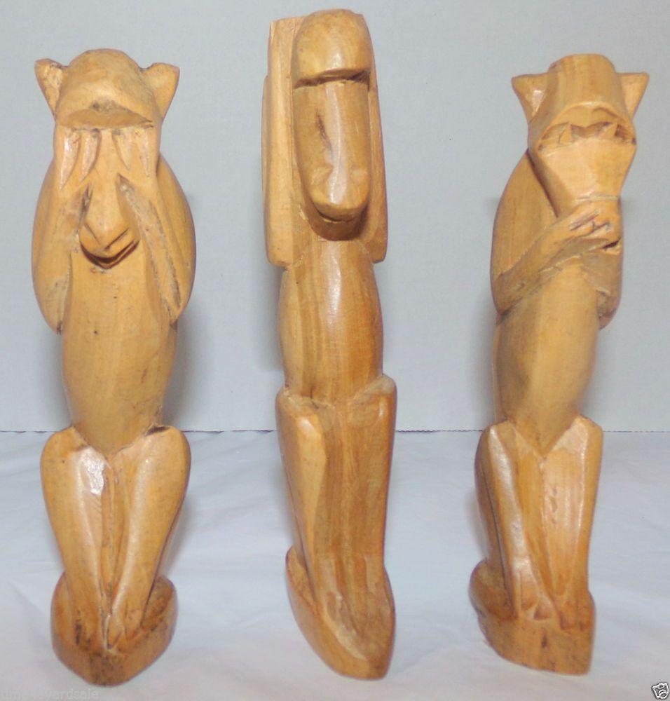 Three wise monkeys wooden ornaments - Vintage Hand Carved Wooden Monkeys Speak No See No Hear No Evil Set Of 3