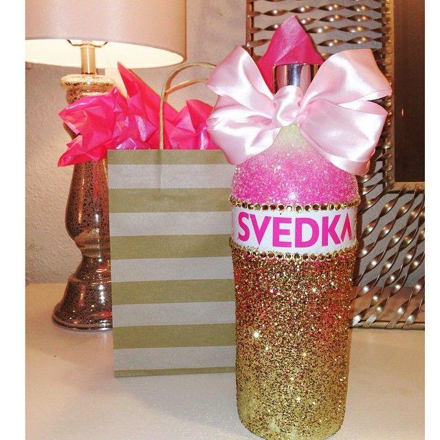 Decorated Alcohol Bottles For Birthday: Glittered Svedka Bottle. 21st Birthday Bottle