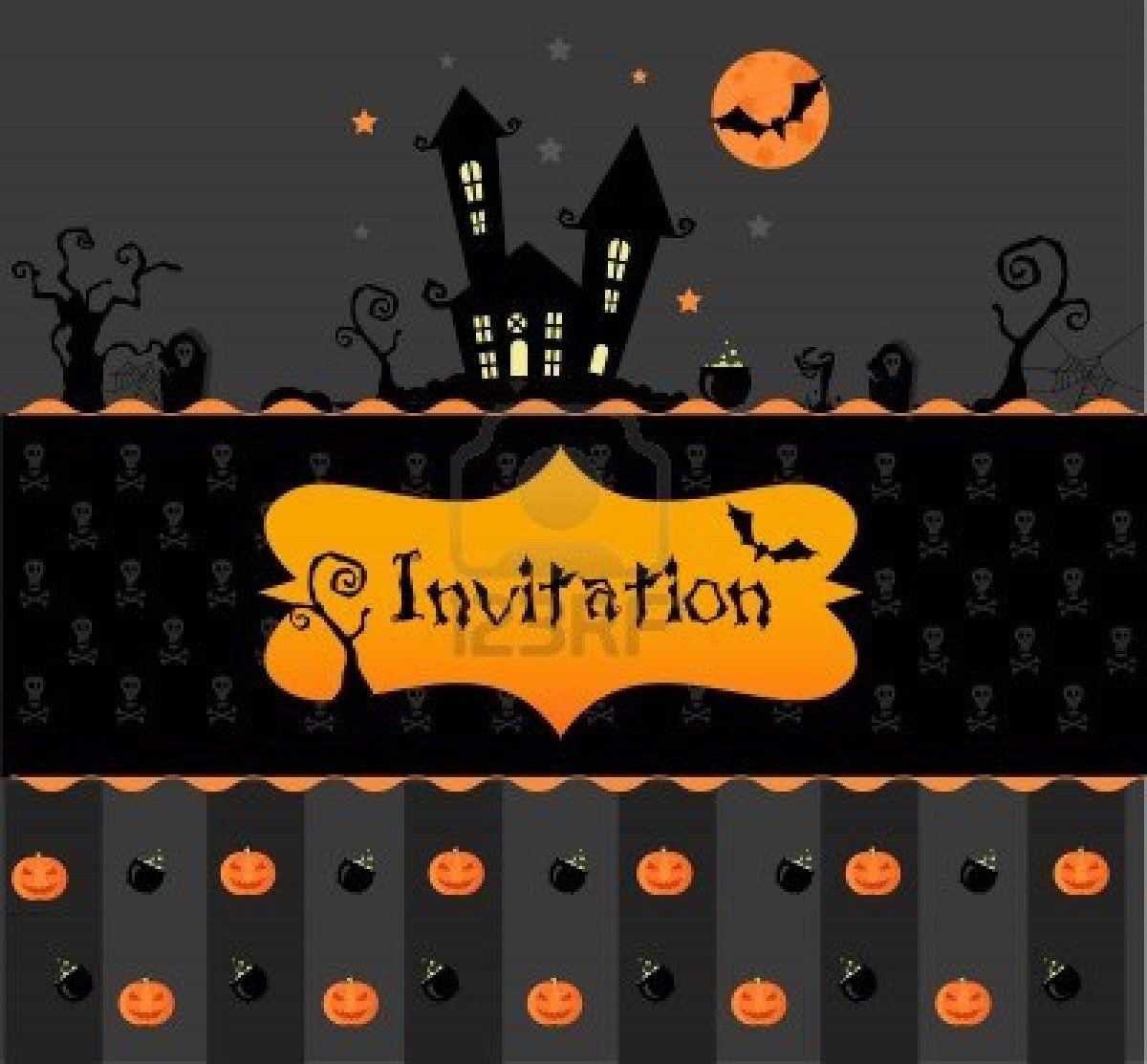Carte Invitation Halloween Avec Vecteur Pumpkns Les Chauves Souris Et Noir Maison Invitation Halloween Carte Anniversaire Carte Invitation Anniversaire Halloween