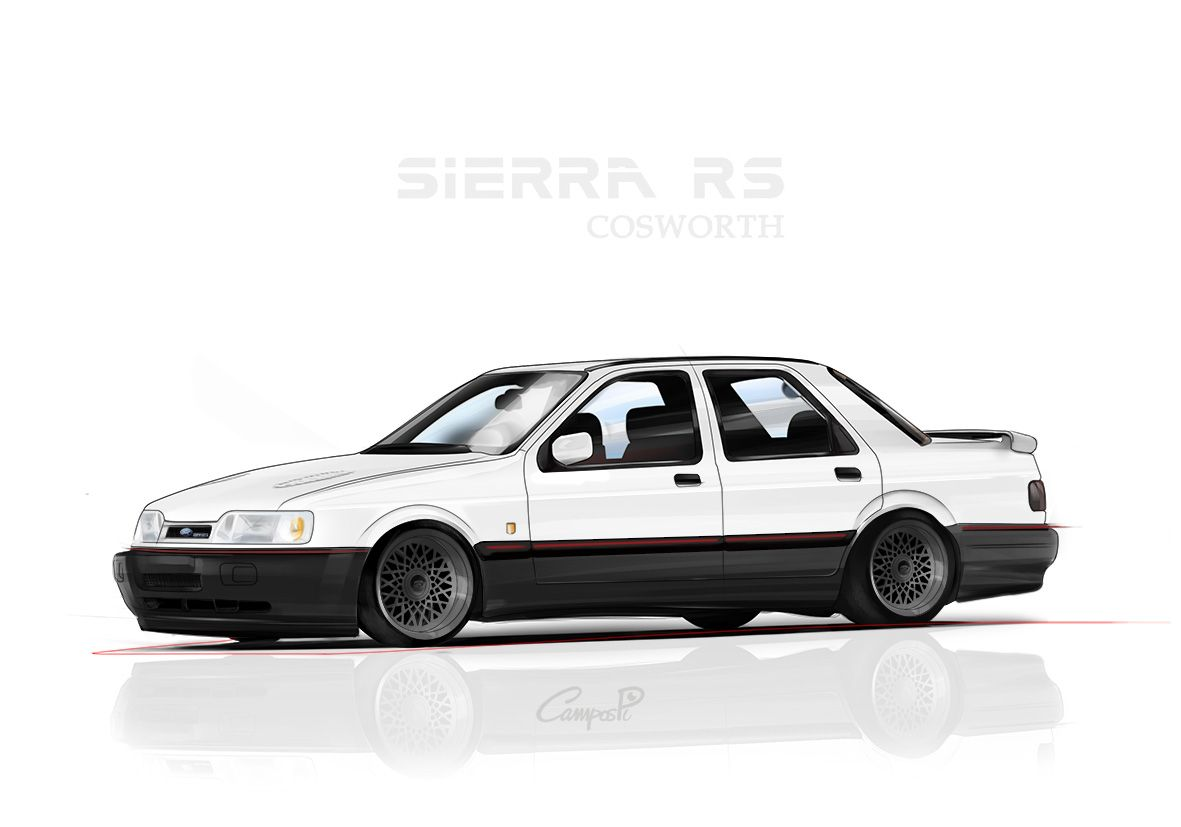 Ford Sierra Cosworth Ilustracion De Coches Ilustraciones Coches