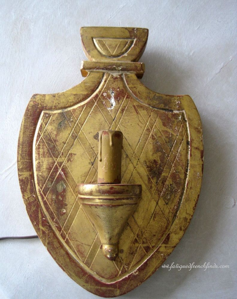 Fabulous Antique French Wood Gilded Gesso Shield Plaque Wall Light Sconce www.fatiguedfrenchfinds.com