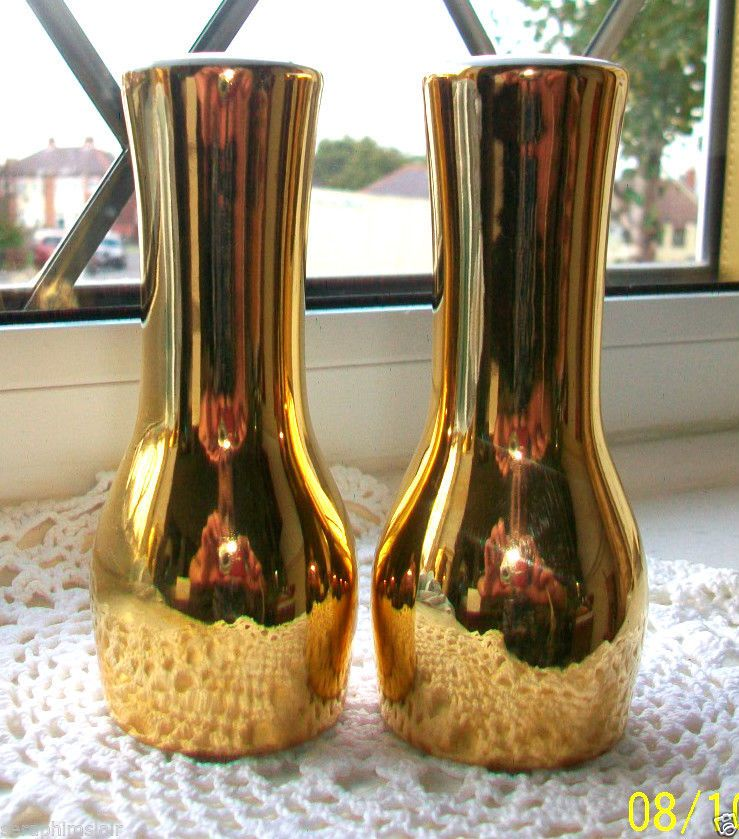 ROYAL WORCESTER~ENGLAND~GOLD LUSTRE~GLAZED PORCELAIN CRUET SET~SALT & PEPPER EX!