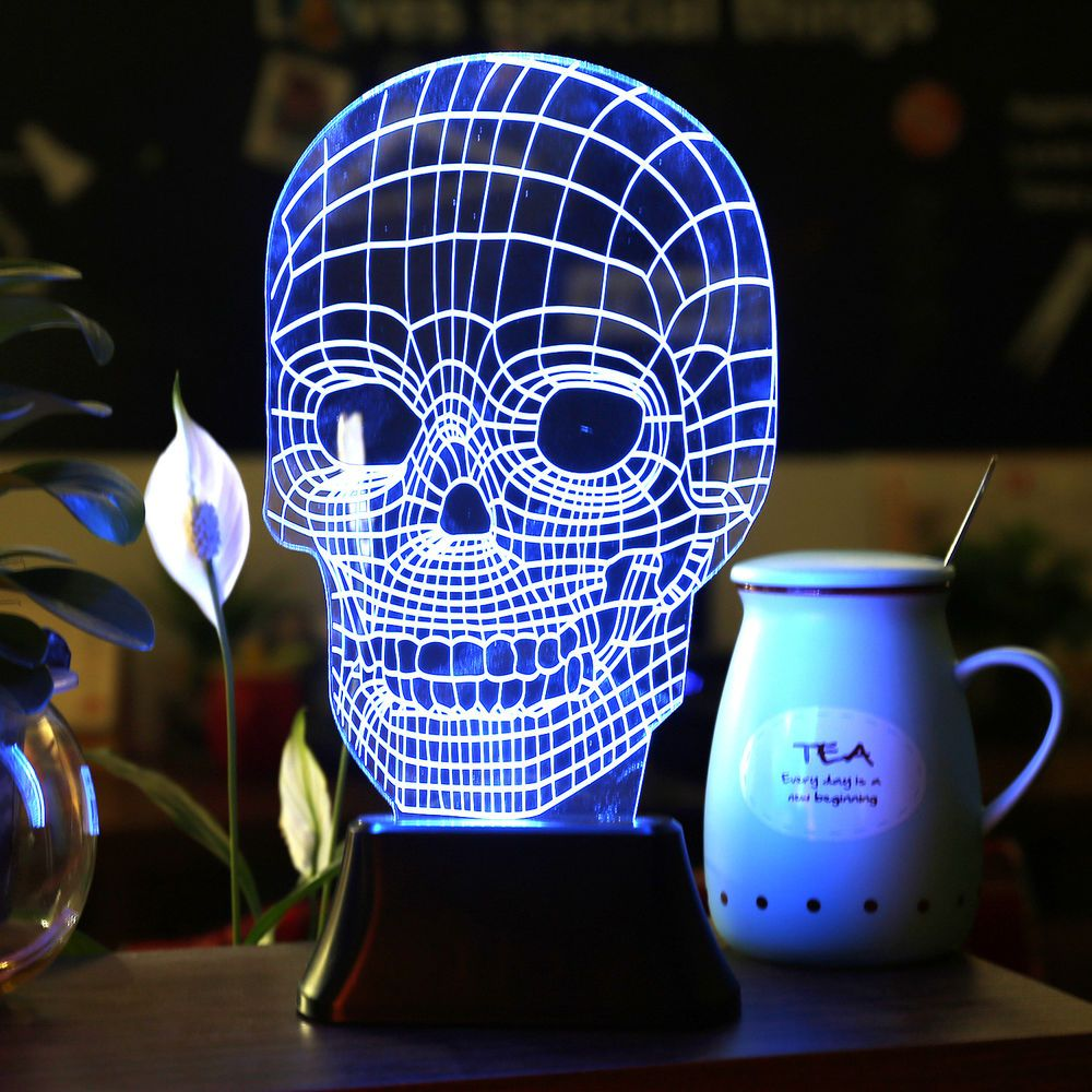 LED 3D Illuminated Skull Illusion Light Desk Micro USB Lamp Night ... for Diy Acrylic Lamp  181pct