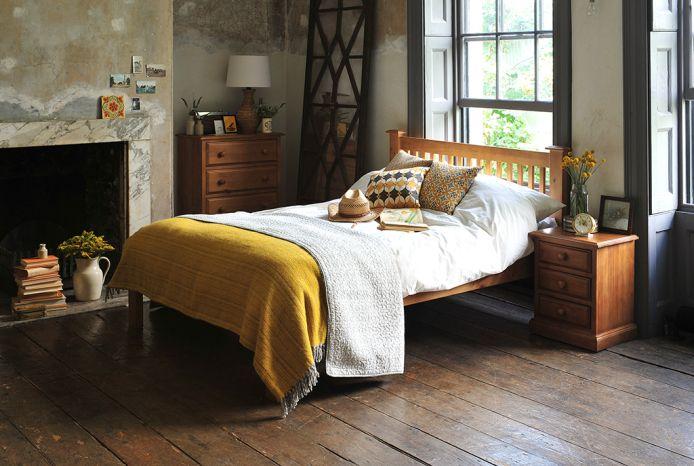Pine Bedroom Furniture, Mustard throw, dream bedroom