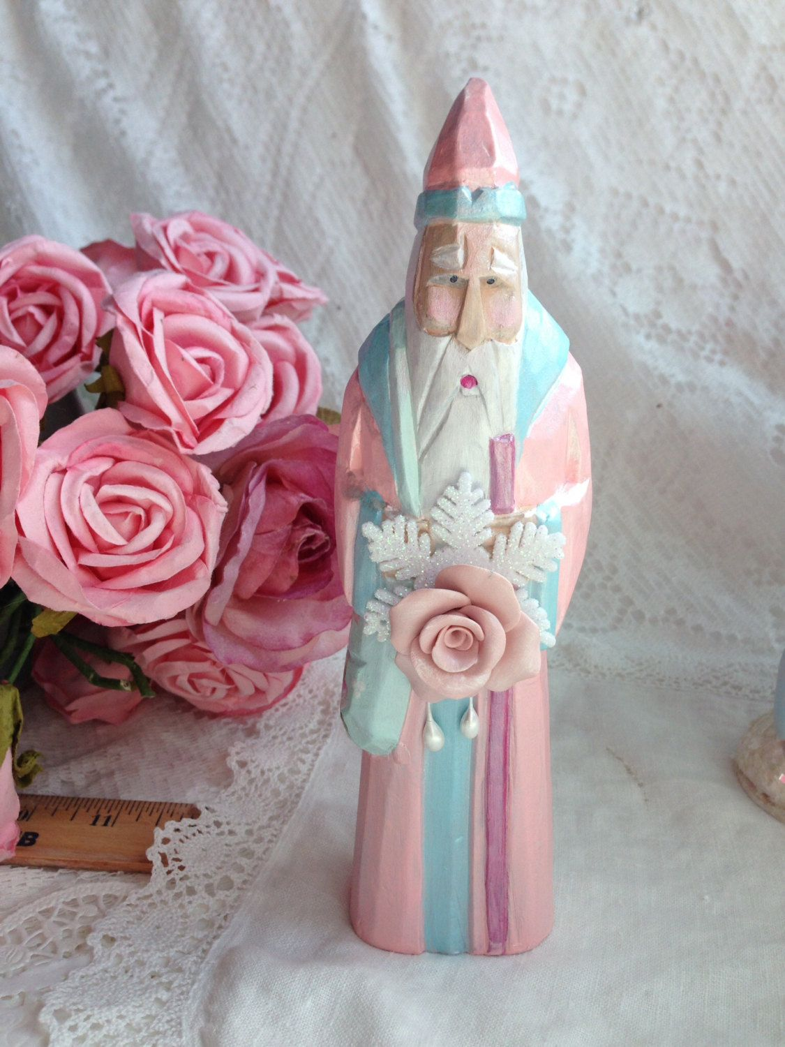 """PInk 8"""" SANTA Claus St. Nick Carved Wood Shabby Chic Christmas Hand Painted RosesECS sct schteam SVFTeam by RoseChicFriends on Etsy https://www.etsy.com/listing/204149539/pink-8-santa-claus-st-nick-carved-wood"""