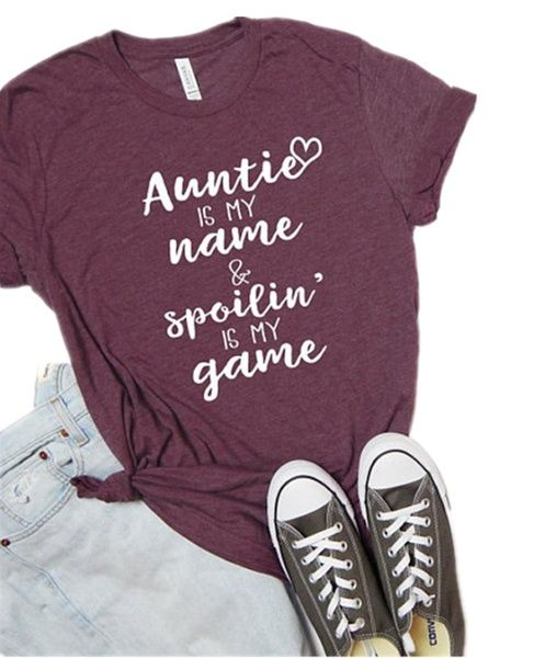 Aunt Shirt Auntie Squad Shirt BAE Best Aunt Ever Letters Printed Women O-Neck Casual Cotton Funny T-Shirt | Wish