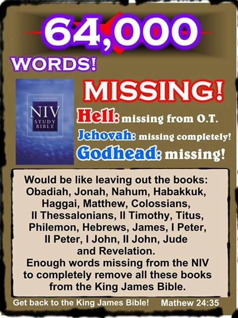 Words missing from NIV Bible versions, Bible