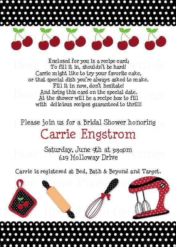 Kitchen Bridal Shower Invitation Retro Cherries By