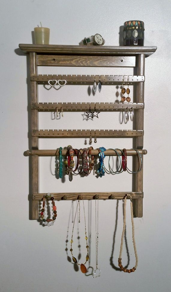 Jewelry Organizer Hanging Holder Display Stand Rack Wall Earring Necklace Shelf