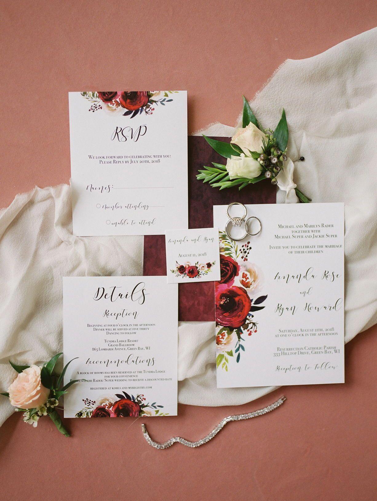 Ryan + Amanda – zomer St. Norberts college bruiloft, Maroon bloemenhuwelijk invit …