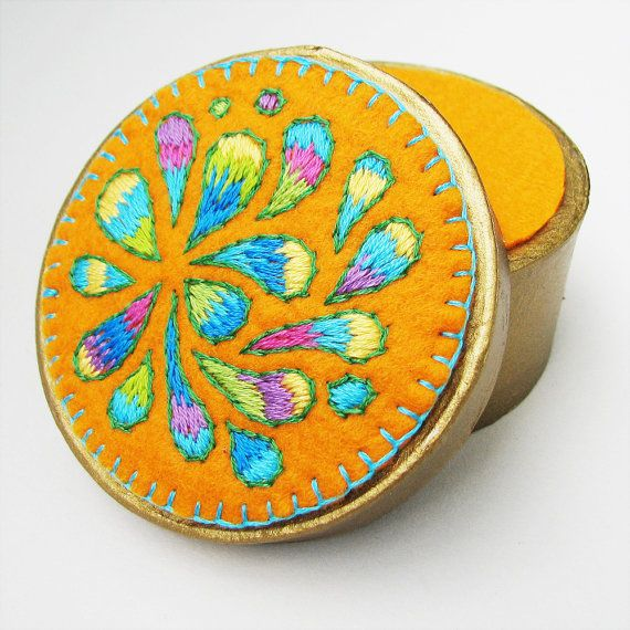 Pastel Paisley Embroidered Golden Treasure Box by windyriver - via http://bit.ly/epinner