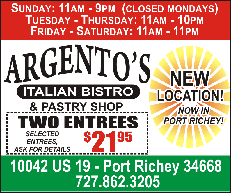 2 Entrees For 21 95 Argento S Has A New Location Port Richey New Port Richey Port