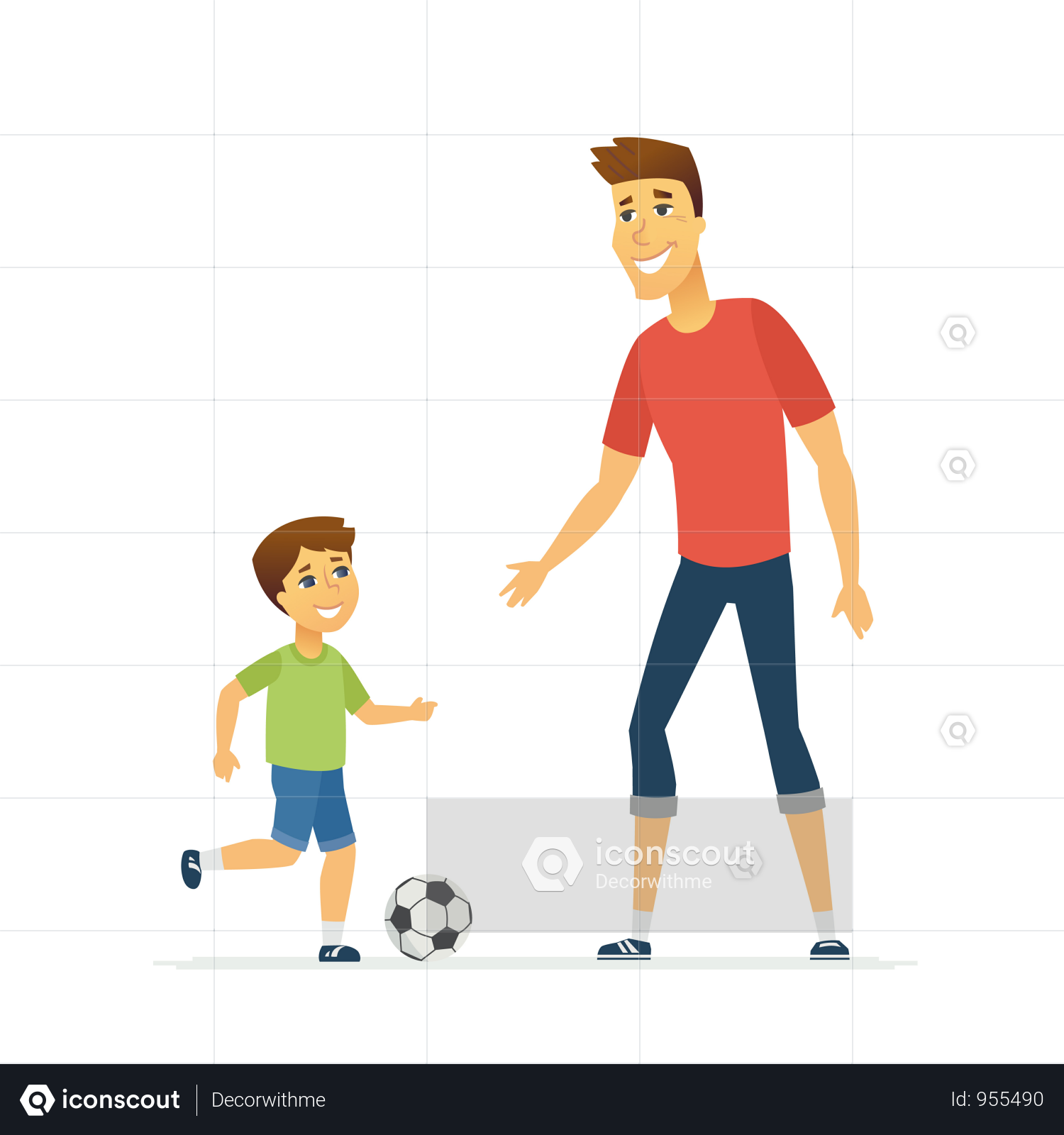 Premium Father And Son Playing Football Illustration Download In Png Vector Format Football Illustration Father And Son Playing Football