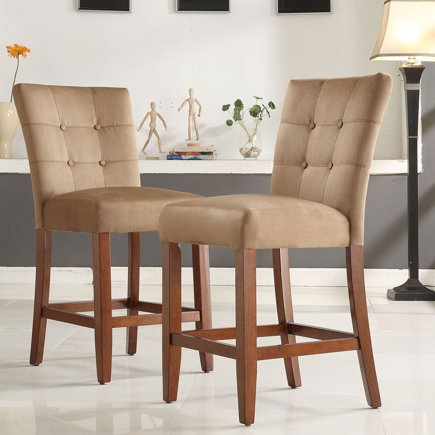 Button Tufted Peat Microfiber 24 Inch Chairs By Tribecca Home (Set Of 2)