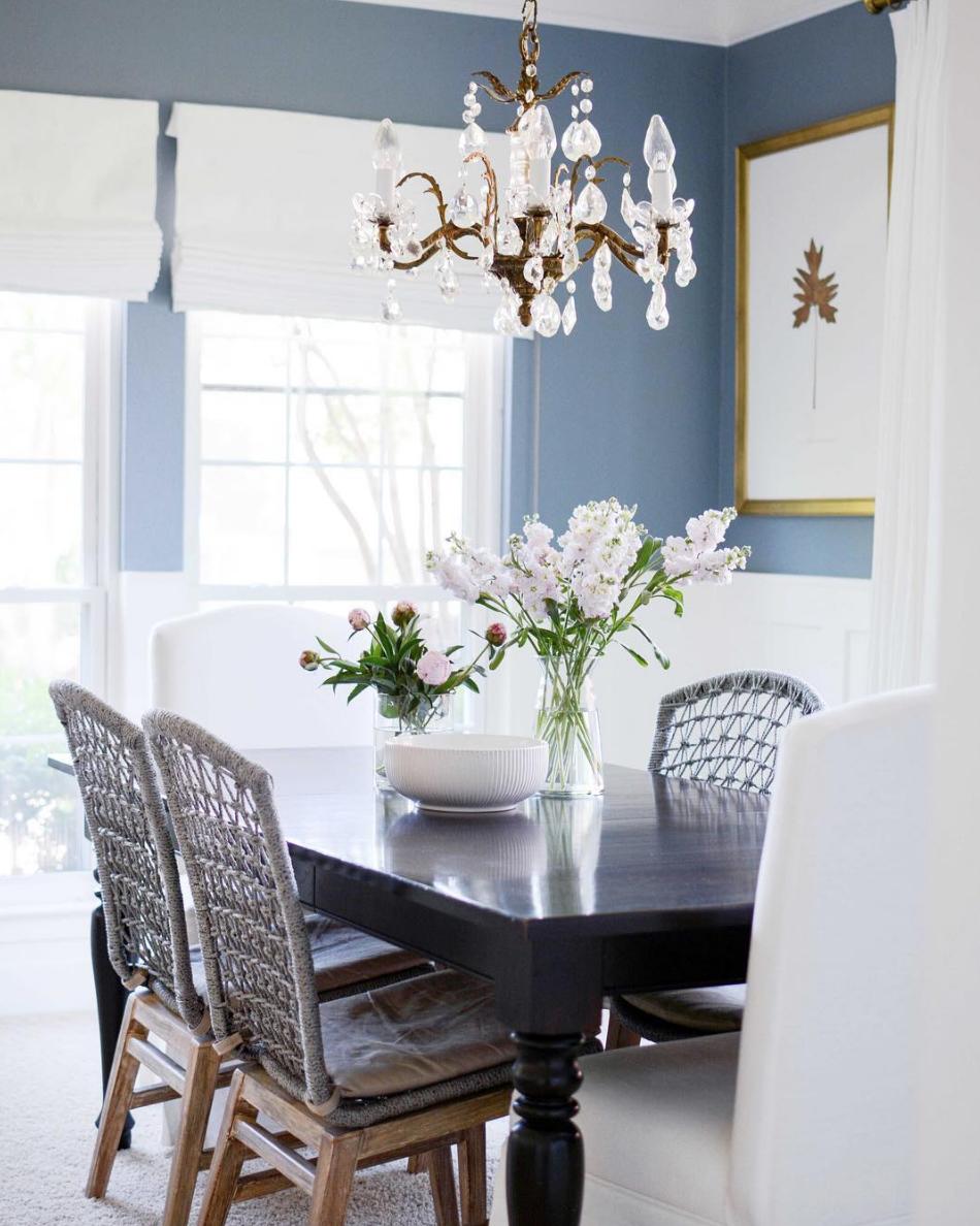 Flat Roman Shade Dining Room Lamps Dining Room Blue Modern