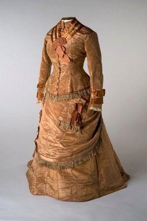 Tan ribbed silk moire dress, 1875.