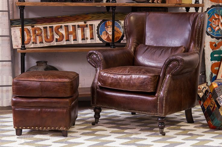 Classically Designed Wingback Top Grain Leather Armchair ...