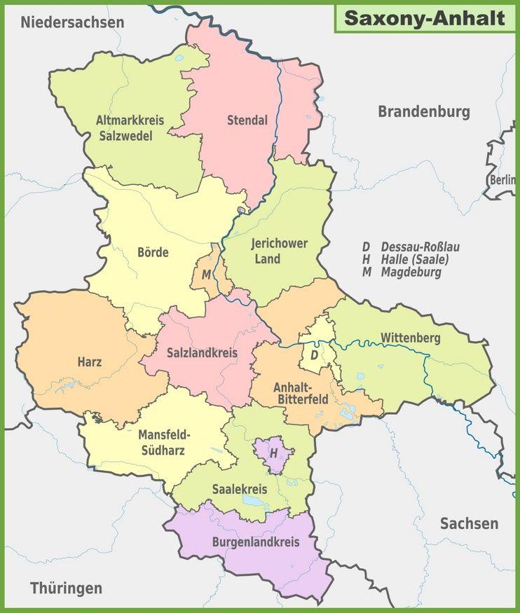 Administrative Divisions Map Of Saxony Anhalt Saxony Anhalt