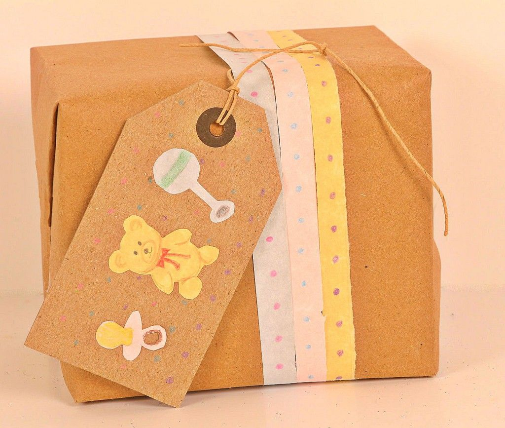 Baby Shower Gifts Organic ~ Baby shower gift wrapping kraft paper unique