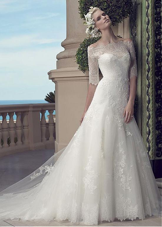Exquisite Tulle Off-the-shoulder Neckline Trumpet Wedding Dresses With Lace…