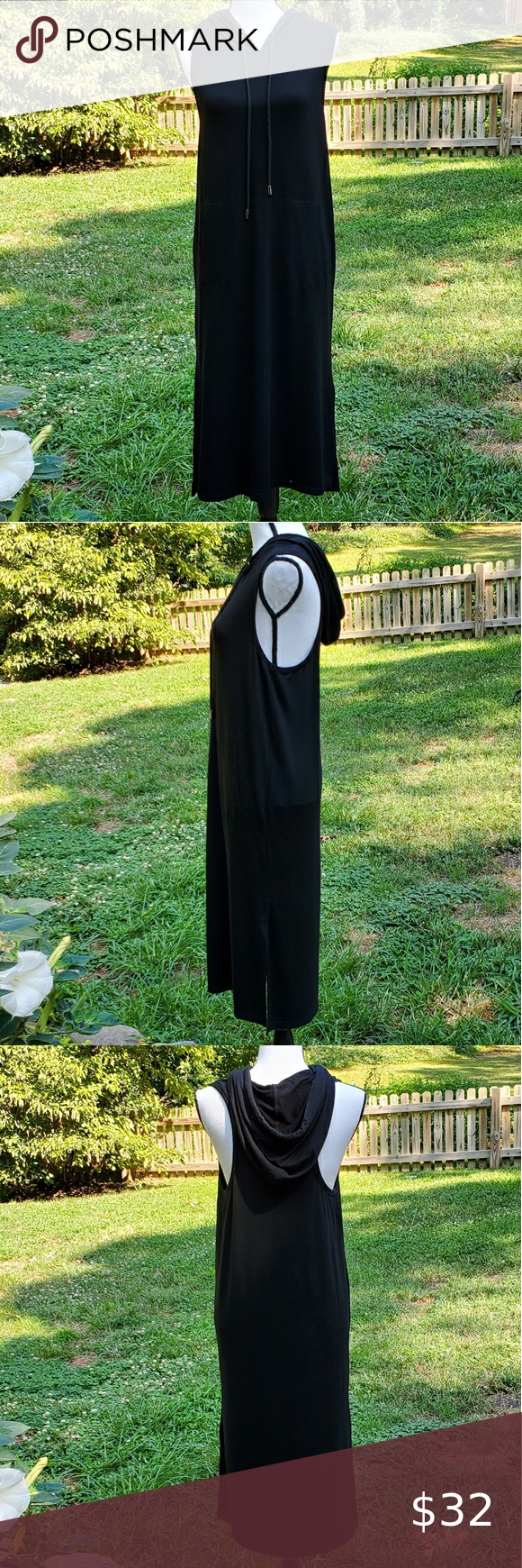 Black T Shirt Hooded Maxi Dress Bobo Small Nwt Bobi Los Angeles Black Hooded Maxi Dress Front Pockets Side Slits Cotton Spandex Black Tshirt Maxi Dress Maxi [ 1740 x 580 Pixel ]