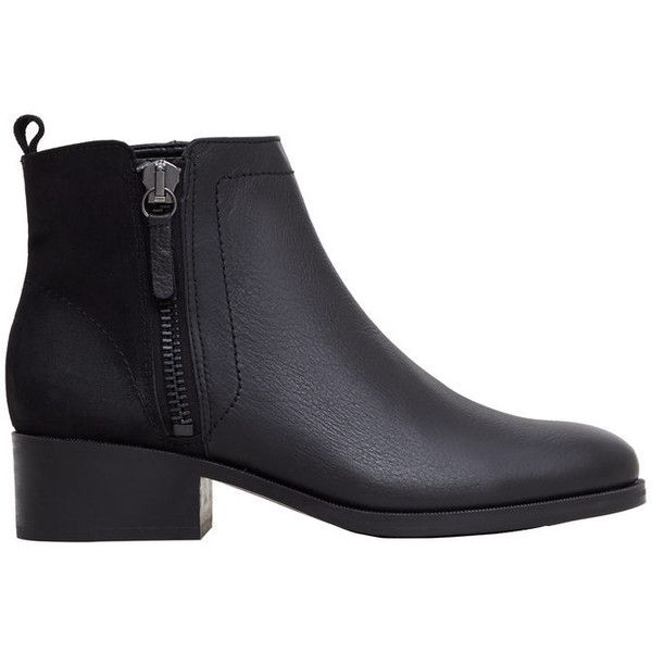 Contrasting Leather Ankle Boots (290 BRL) ❤ liked on Polyvore featuring shoes, boots, ankle booties, zipper ankle boots, pointy-toe ankle boots, leather booties, pointy booties and pointy-toe boots