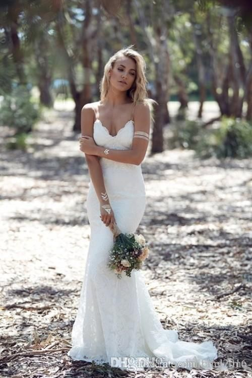 2016 Backless Wedding Dresses Mermaid Spaghetti Strap Sexy Full Lace Wedding Dress Cheap Sweep Low Back BOHO White Bridal Dress Mermaid Wedding Dresses Plus Size Dress Bridal Gown Dress Online with $175.99/Piece on Yahuifang2016's Store | DHgate.com