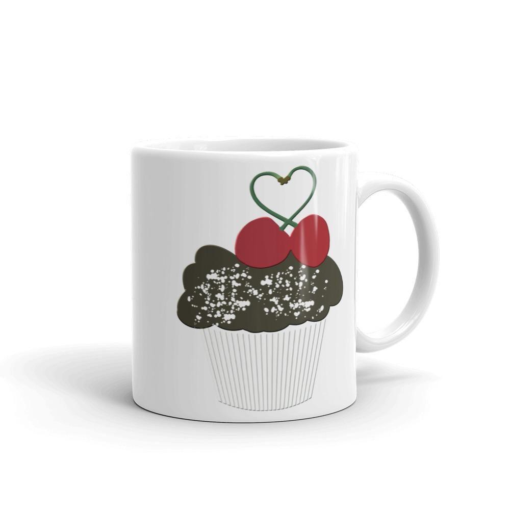 Choc Cupcake Cherry Heart Mug