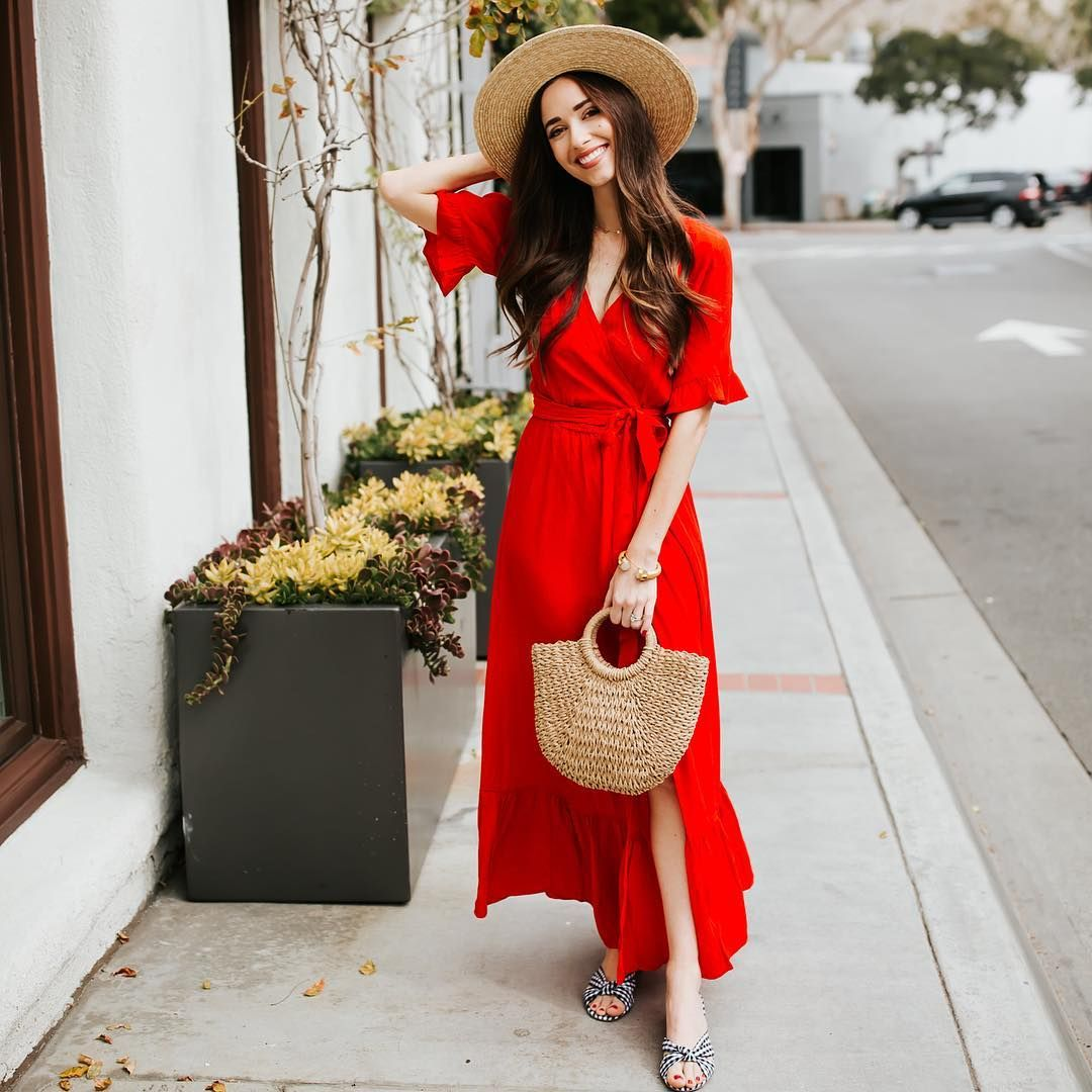 Red Ruffle Wrap Maxi Dress Outfit For Spring And Summer Red Dress Casual Red Dress Maxi Maxi Wrap Dress [ 1080 x 1080 Pixel ]