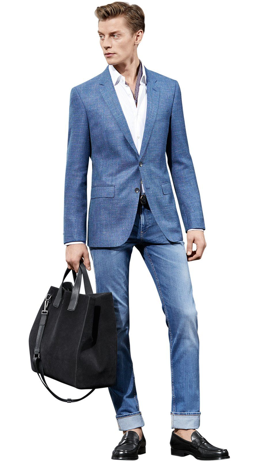 6cabb2cd3 Man is wearing a BOSS tailored blue jacket over a BOSS white shirt with BOSS  jeans, large leather good and shoes
