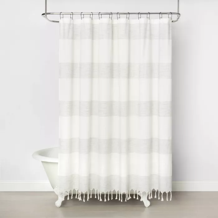 Woven Stripe Shower Curtain Railroad Gray Hearth Hand With Magnolia Striped Shower Curtains Gray Shower Curtains Cotton Shower Curtain