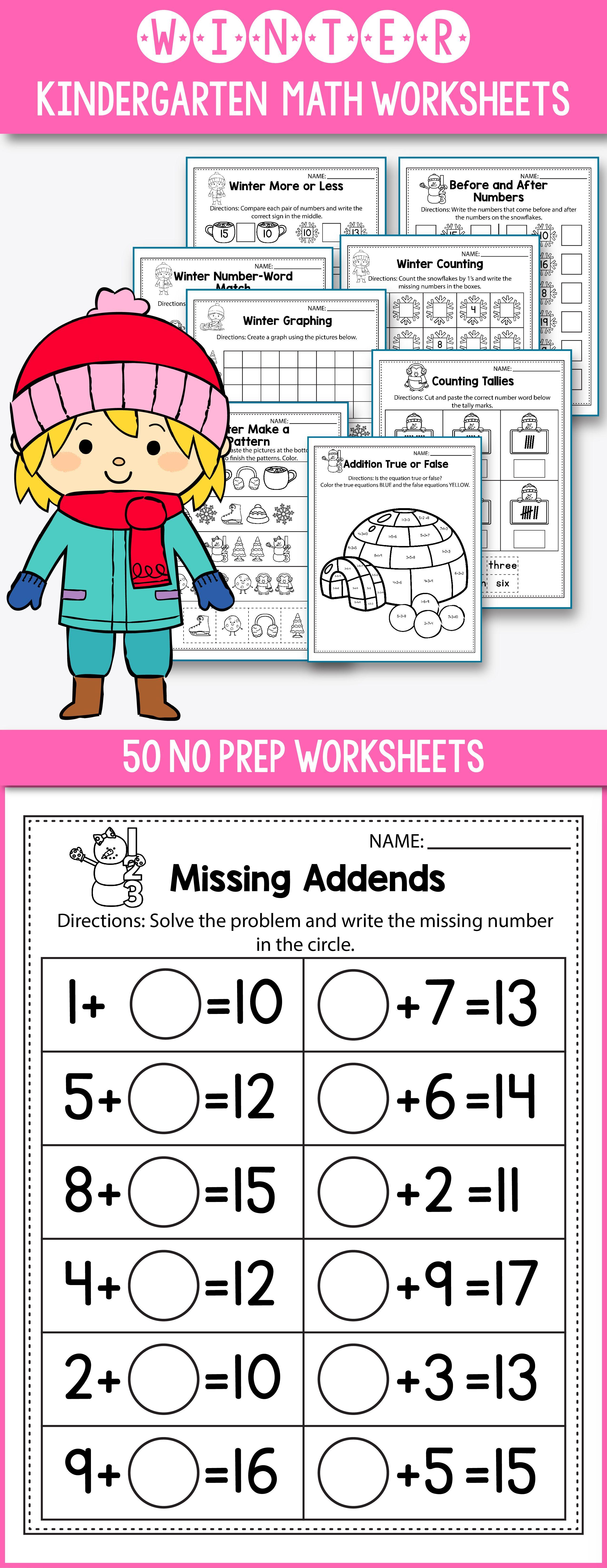 Winter Activities For Kindergarten - Winter Math Worksheet ...