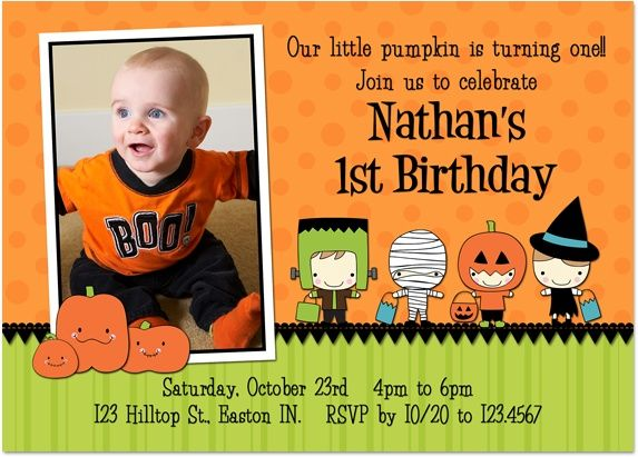 Halloween First Birthday Party Invitation Idea
