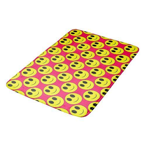 Big Yellow Allover Hot Pink Lg Bath Mat Zazzle Com Big Yellow Bathroom Gifts Bath Mat