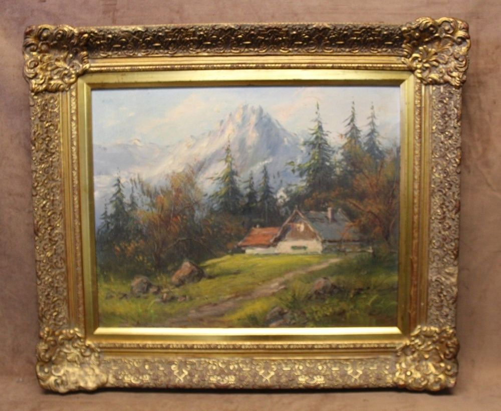 b1ea74a4120e Estate Found Vintage Mountain Cabin Oil Painting on Canvas W  Ornate frame   Impressionist