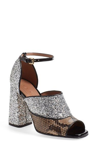 621776d90a Marni Peep Toe Chunky Genuine Python & Glitter Sandal (Women) available at  #Nordstrom