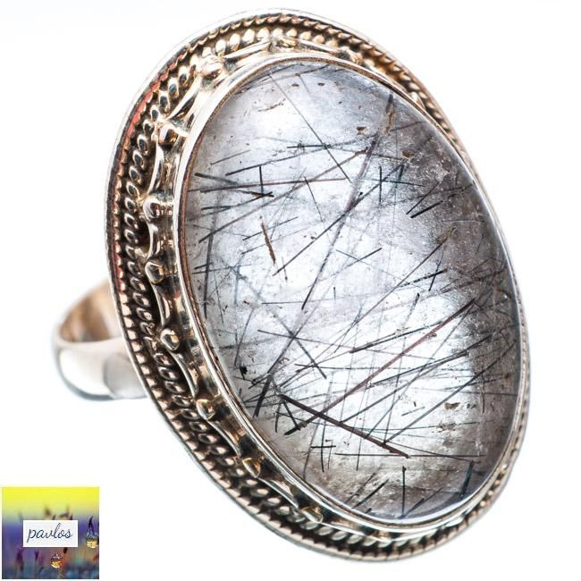 TOURMALINATED QUARTZ 925 STERLING SILVER RING SIZE 9