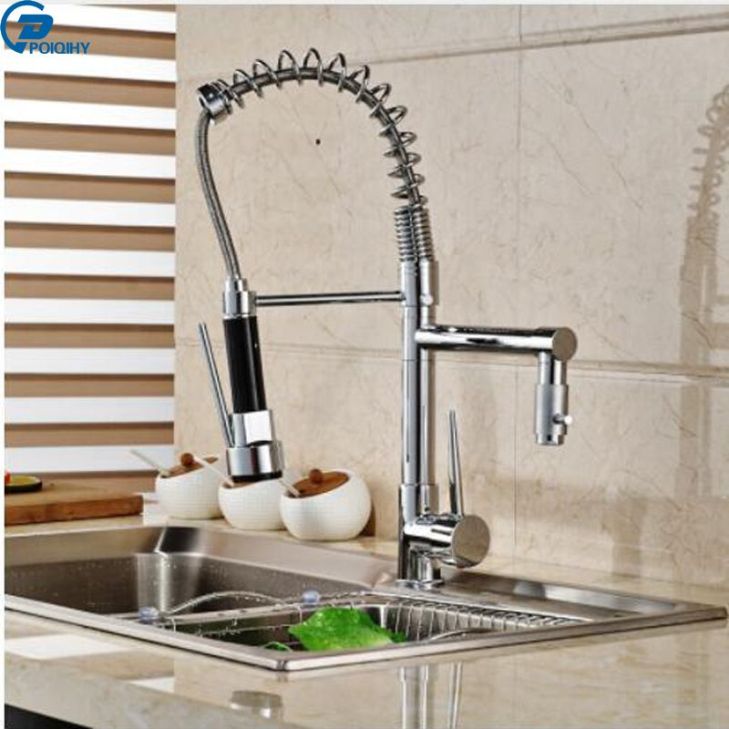 Poiqihy Chrome Finish Kitchen Sink Faucet Pull Down Spring Single