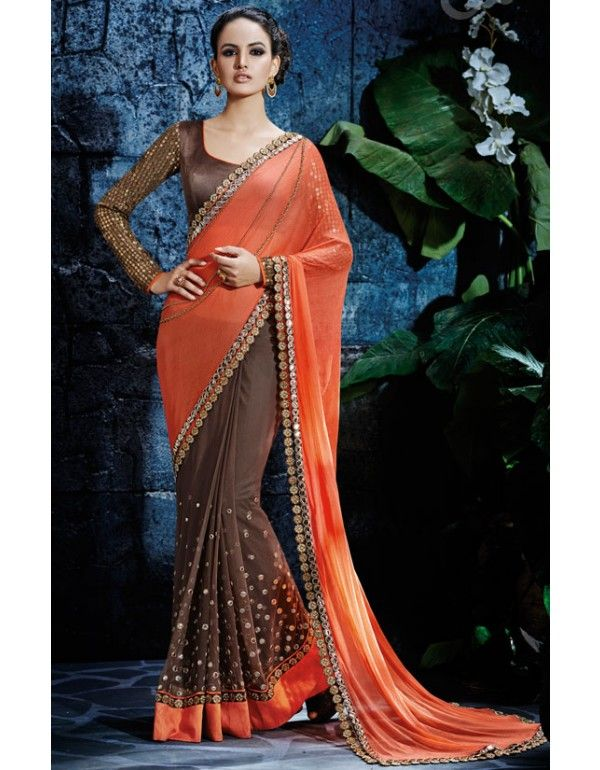 Classy Coffee Brown and Peach #Saree